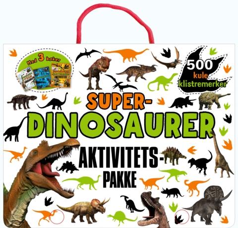 Superdinosaurer. Veske med 3 aktivitetsbøker og 500 klistremerker